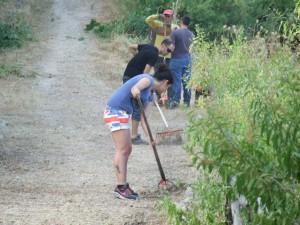 Alcuni volontari all'opera