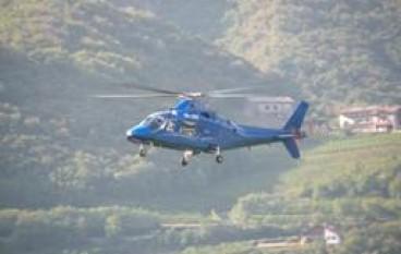San Marco Argentano (CS), L'elicottero della Protezione Civile di stanza per il controllo e la sorveglianza