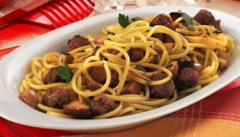 Spaghetti con polpettine di sarde e porcini