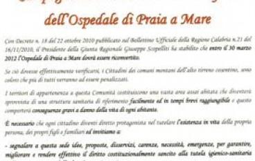 Comunità Montana Alto Tirreno, invito del Presidente Spinola a difesa dell'Ospedale di Praia a Mare (CS)