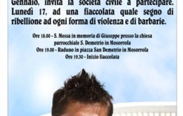 Mosorrofa (RC), fiaccolata in memoria di Giuseppe Sorgonà da parte di tutta la comunità