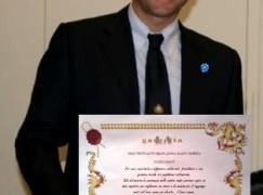 """Consegnato diploma di """"Giovane talento calabrese"""" al Direttore della Sede AISVEC del Sud Italia Paolo Trotta"""