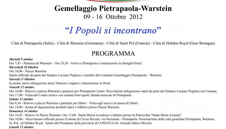 Dal 9 al 16 ottobre il Gemellaggio Pietrapaola- Warstein