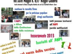 Iniziative ANPI Reggio Calabria per il 26 novembre