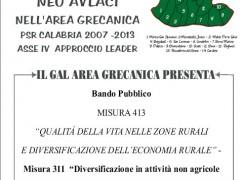 Condofuri (RC), il GAL Area Grecanica presenta Bando pubblico Misura 413