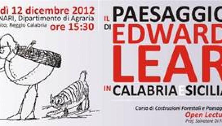 """Agraria, il 12 dicembre seminario """"Il paesaggio di Edward Lear in Calabria e Sicilia"""""""