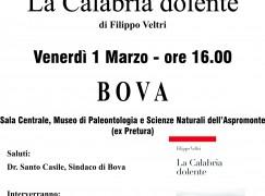 """A Bova presentazione dell'ultimo libro di Filippo Veltri """"La Calabria dolente"""""""