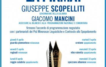 Scopelliti e Mancini firmeranno accordo di programmazione negoziata con i partenariati dei Pisl