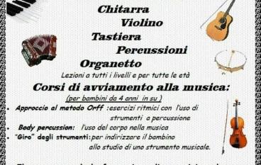 Corsi di Musica, chitarra, violino, tastiera, percussioni, organetto