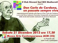 """Il Club Giovani Soci BCC Mediocrati porta in scena """"Don Carlo de Cardona"""""""