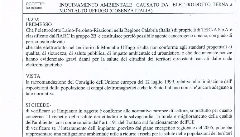 Elettrodotto Terna: presentata interrogazione alla Commissione Europea