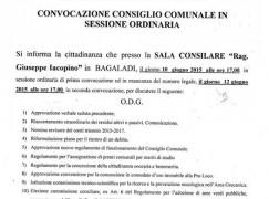 Bagaladi, covocato il Consiglio Comunale