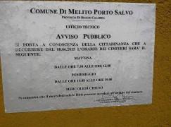 Melito Porto Salvo (Rc), nuovo orario d' apertura dei cimiteri