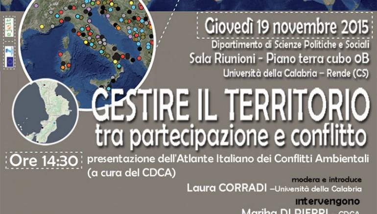 """All'Unical """"Gestire il territorio: tra partecipazione e conflitto"""""""