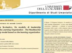 Arcavacata di Rende, iscrizioni master per dirigenti e docenti