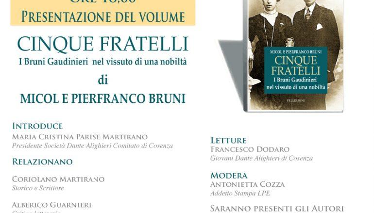 """A Villa Rendano presentazione del libro """"Cinque fratelli"""""""