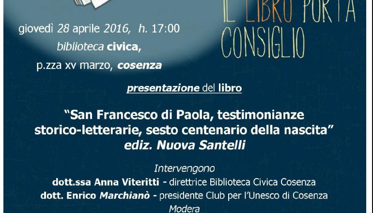 """Cosenza, presentazione libro """"San Francesco di Paola"""""""
