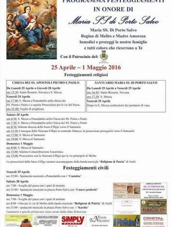 Programma festeggiamenti in onore di Maria SS di Porto Salvo