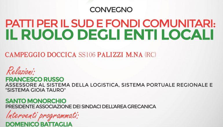 """Palizzi, PD promuove convegno """"Patti per il sud"""""""