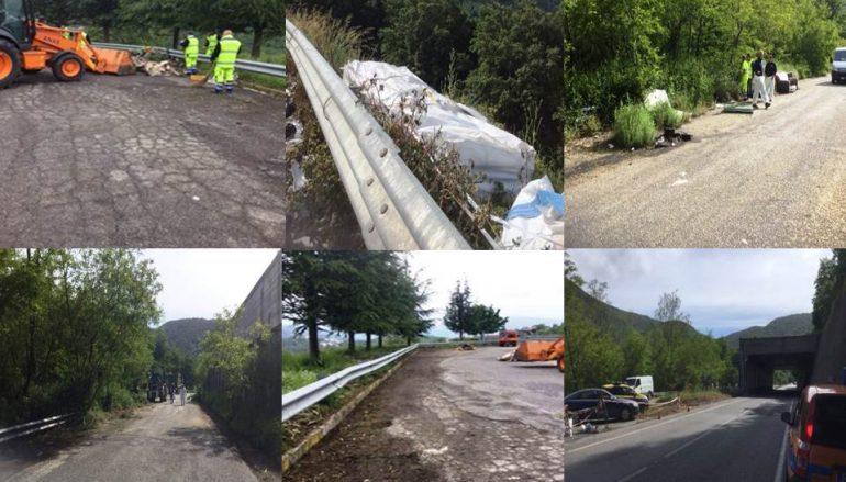 #stradepulite Calabria, rimossi rifiuti abbandonati sulla SS 107