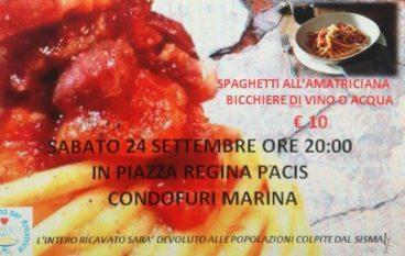"Condofuri Marina, ""Amatriciana solidale"" per i terremotati"
