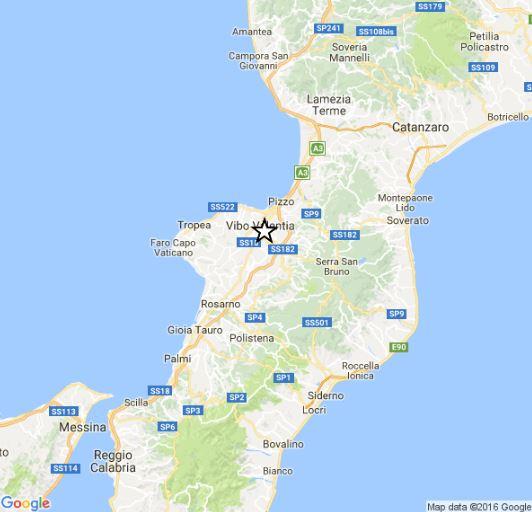 Scossa di terremoto 3.2 registrata nel vibonese