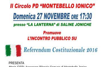 """Saline Joniche, incontro pubblico su """"Referendum"""""""
