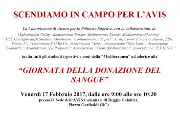 """L' Università Mediterranea promuove la """"Giornata della donazione del sangue"""""""