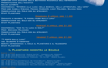 """Reggio Calabria, al Planetario la """"Settimana Nazionale dell'Astronomia"""""""