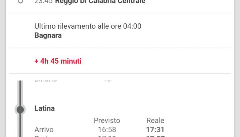 Intercity Roma-Reggio Calabria, odissea di 12 ore