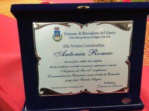 targa - centenaria Antonia Romeo