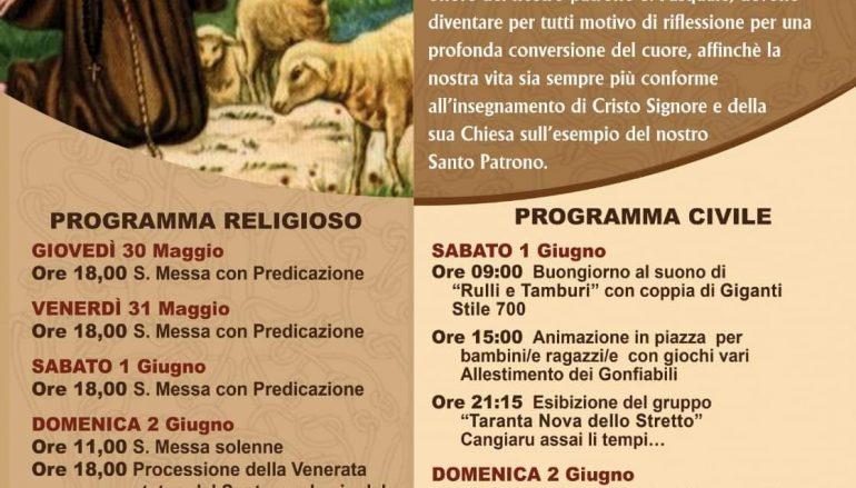 San Pasquale Baylon a Chorio, al via i festeggiamenti
