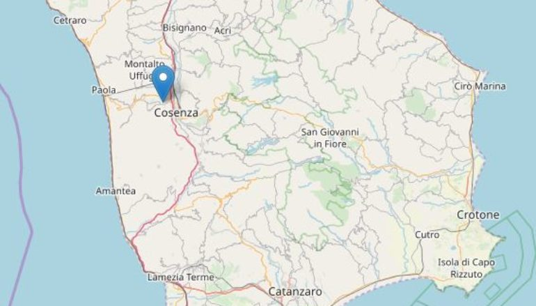 Forte scossa di terremoto a Cosenza di magnitudo 4.4