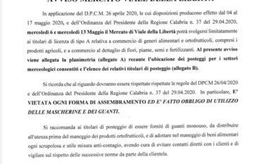 Fase 2, Riapre il Mercato rionale di Melito Porto Salvo. Le disposizioni