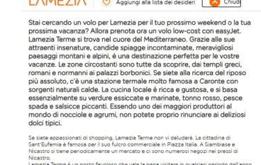 EasyJet, la rettifica: Lamezia Terme si trova nel cuore del Mediterraneo