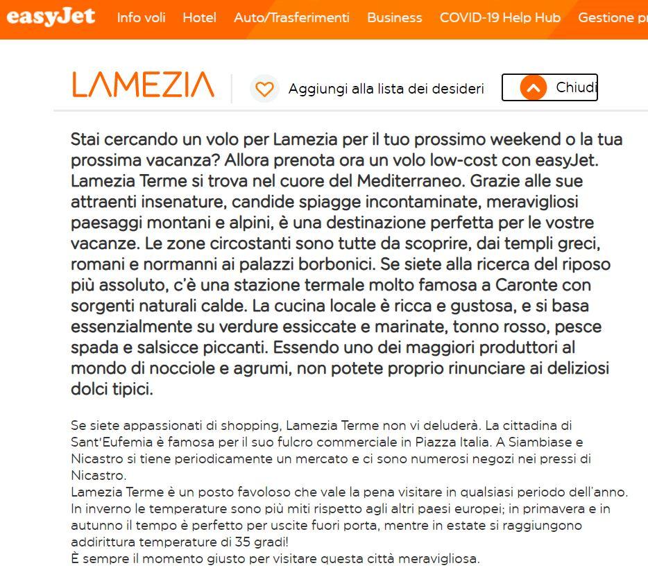 lamezia easyjet nuova descrizione