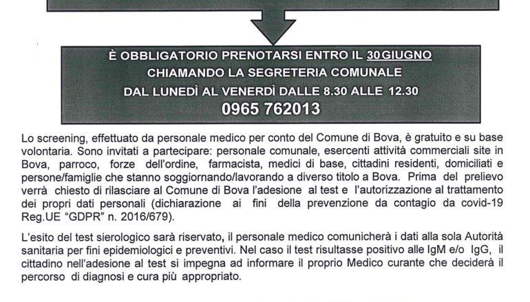 Test sierologici gratuiti nel comune di Bova (Rc)
