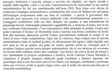 Intimidazione vice sindaco Montebello Jonico, solidarietá Suraci