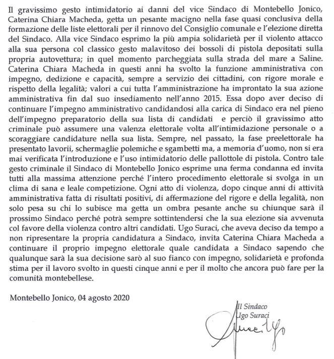 intimidazione vice sindaco montebello