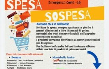 Riparte la Spesa Sospesa nel comune di Montebello Jonico