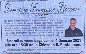 Morte avvocato Francesco Floccari, fissati i funerali