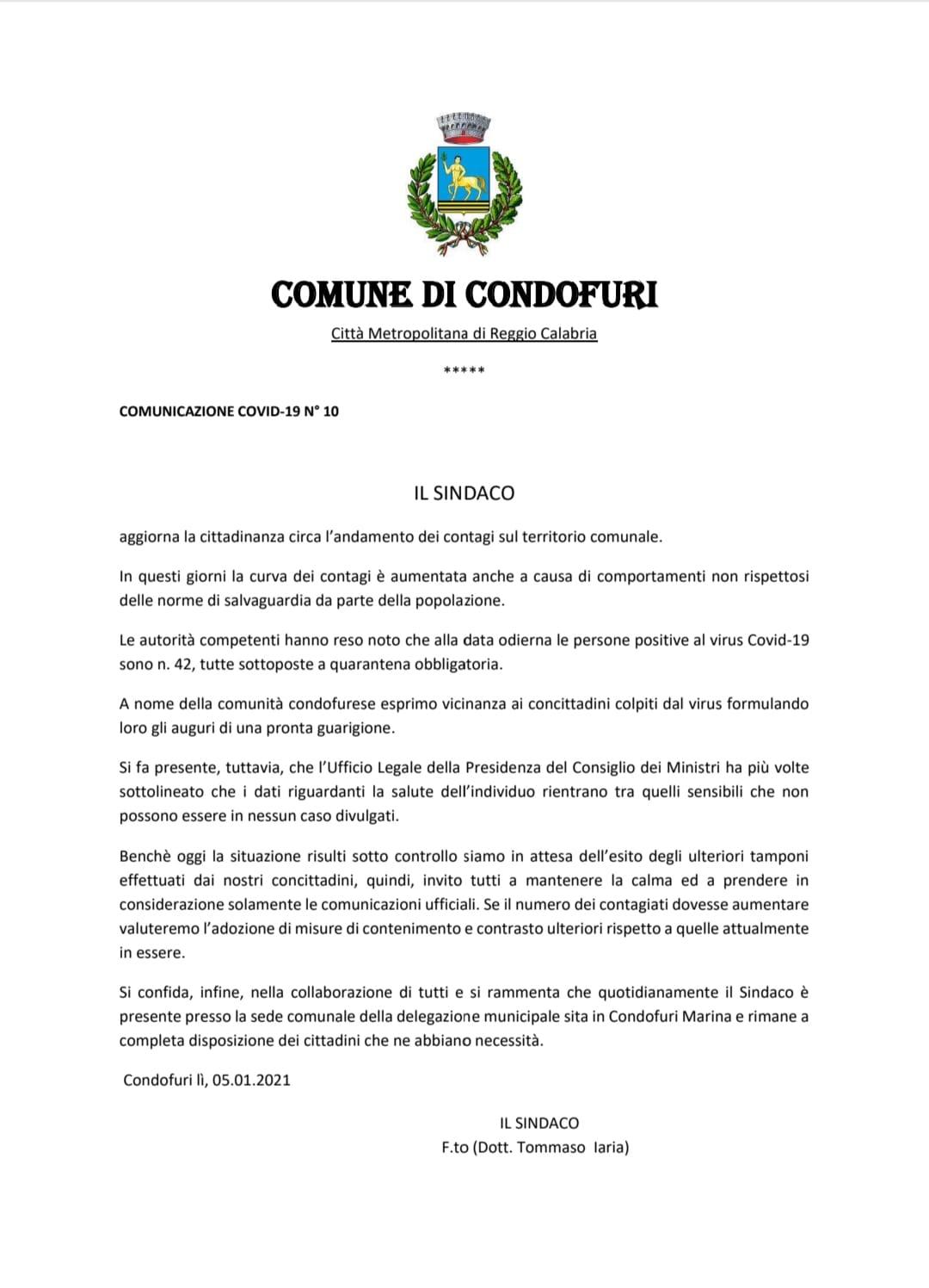 coronavirus condofuri marina